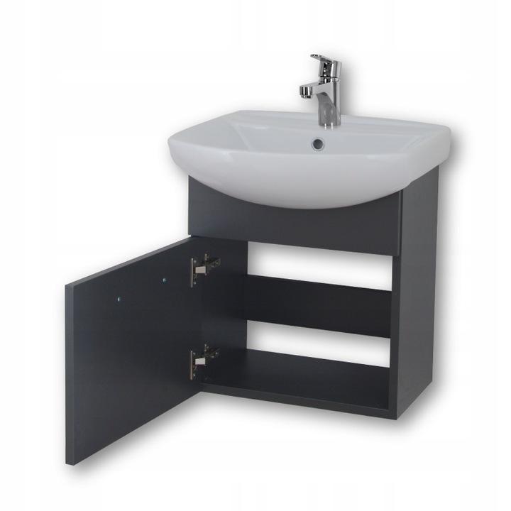 Grafitowa szafka łazienkowa z umywalką